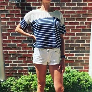 Navy Blue and White Striped Shirt